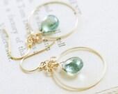 Teal Quartz Chandelier Earrings 14k Gold Fill, Aqua Green Gemstone Earrings, Bohemian Jewelry, aubepine