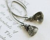 July Sale - Black Rutilated Quartz Earrings Sterling Silver, Long Wire Wrap Gemstone Earrings