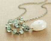Sterling Silver Necklace, Moss Aquamarine Solar Quartz Teal Gemstone Pendant Necklace, March Birthstone, Bohemian Jewelry