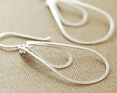 Sterling Silver Hoop Earrings, Layered Teardrops, Silver Dangle Earrings, aubepine