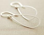 Sterling Silver Teardrop Earrings, Metal Hoop Earrings, Handmade Earrings, aubepine