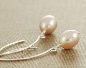 Pink Peach Pearl Earrings in Sterling Silver, Pastel Spring Jewelry, June Birthstone Earrings, aubepine