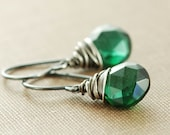 Emerald Green Dangle Earrings, May Birthday Sterling Silver Gemstone Earrings, Wire Wrapped Oxidized, Winter Fashion, aubepine