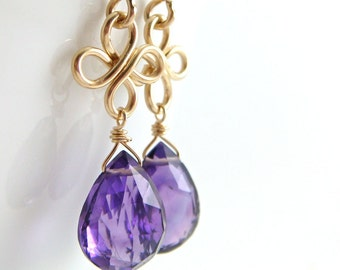 Amethyst Chandelier Earrings 14k Gold Fill, February Birthstone Earrings, Purple Gemstone Clovers Handmade