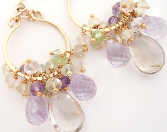 Bohemian Gemstone Petal Chandelier Earrings, Gold Dangle Earrings with Amethyst Quartz Gemstone Clusters