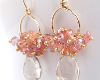 Gold Gemstone Hoop Earrings with Pink Peach Clusters, Sunstone Quartz Rhodocrosite, Dangle