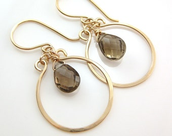 Coffee Brown Chandelier Earrings 14k Gold Fill, Gemstone Dangle Earrings, Smoky Quartz, aubepine
