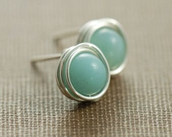 March Birthday Sky Blue Post Earrings, Amazonite Wrapped in Sterling Silver, Handmade Gemstone Earrings, aubepine