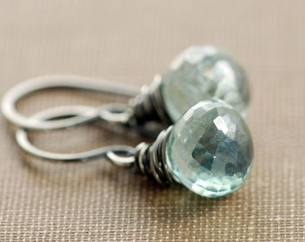 Teal Green Quartz Earrings in Oxidized Sterling Silver, Faceted Gemstone Dangle Earrings