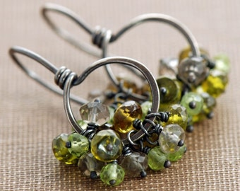 Green Gemstone Cluster Earrings, August Peridot Birthstone Jewelry, Sterling Silver Hoops, Rustic Autumn Earrings