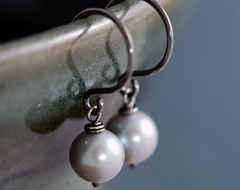 Gray Pearl Earrings Sterling Silver, June Birthstone, Silver Pearl Dangle Earrings