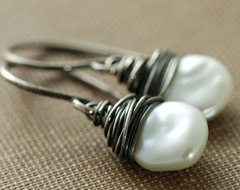 Keishi Pearl Earrings Wrapped in Sterling Silver Oxidized, Handmade Bohemian Jewelry