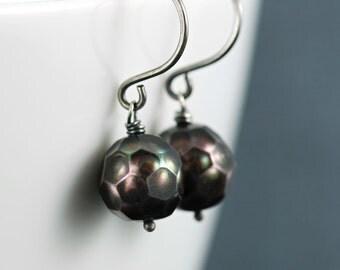 Peacock Pearl Sterling Silver Earrings, Handmade Pearl Earrings, June Birthstone Jewelry