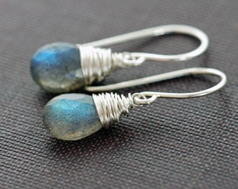 Labradorite Earrings Wrapped in Sterling Silver, Gemstone Dangle Earrings Handmade, aubepine