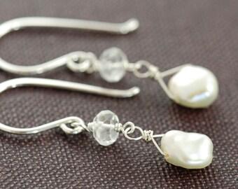 Dainty Pearl Topaz Dangle Earrings Sterling Silver, June Birthstone Keishi Pearl Wire Wrapped, aubepine