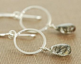 Black Rutilated Quartz Earrings Sterling Silver Hoops, Gemstone Dangle Earrings Handmade