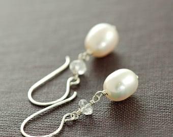 Pearl Topaz Earrings in Sterling Silver, Bridal Jewelry, June Birthstone Gemstone Dangle Earrings, Handmade