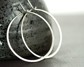 Sterling Silver Hoop Earrings, 1 Inch Hoop Earrings, Handmade Jewelry