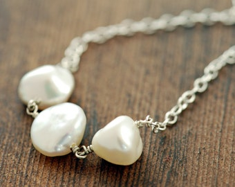 Sterling Silver Keishi Pearl Necklace, Pearl Bridal Jewelry, June Birthstone Necklace, aubepine