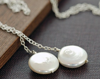 Sterling Silver Pearl Lariat Necklace, June Birthstone Jewelry, Bridesmaid Necklace