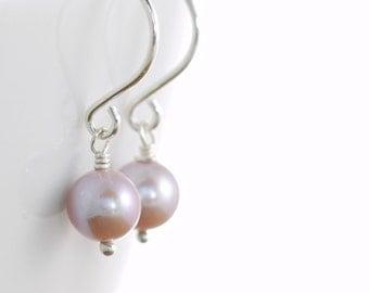 Pink Pearl Earrings in Sterling Silver, Bridesmaid Wedding Jewelry, June Birthstone Pastel Pink, aubepine