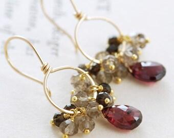 Garnet Earrings 14k Gold Fill with Smoky Quartz Clusters, Red Gemstone Hoop Earrings, January Birthstone, aubepine