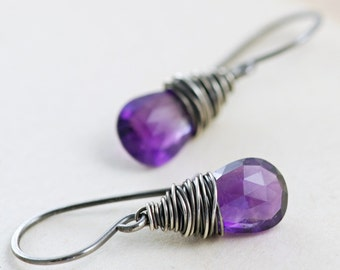 Amethyst Earrings Wrapped in Sterling Silver, February Birthstone, Purple Gemstone Dangle Earrings, aubepine