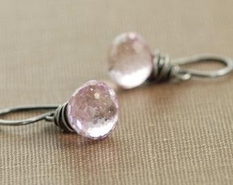 Pink Quartz Earrings Wrapped in Sterling Silver Oxidized, Pink Gemstone Dangle Earrings, Handmade Earrings, aubepine