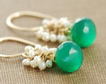 May Summer Birthday Green Gemstone Drop Earrings, Gold Dangle Earrings with Pearl Clusters