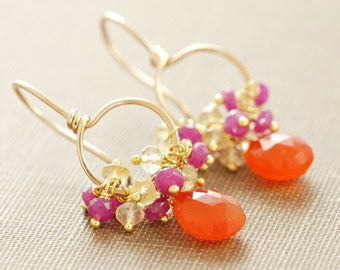 Fruit Punch, Orange Pink Gemstone 14k Gold Hoop Earrings, Carnelian Citrine Pink Sapphire Clusters, aubepine