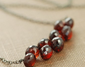 Garnet Jewelry, January Birthstone Necklace Sterling Silver, Red Gemstone Necklace, Winter Fashion, aubepine