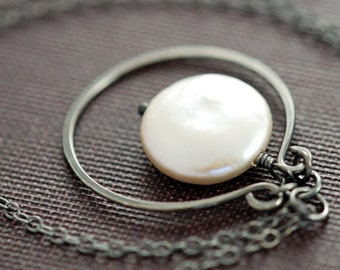 Coin Pearl Sterling Silver Necklace, Handmade Pendant Oxidized Hoop, aubepine