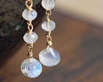 Moonstone Drop Earrings in 14k Gold Fill, Handmade