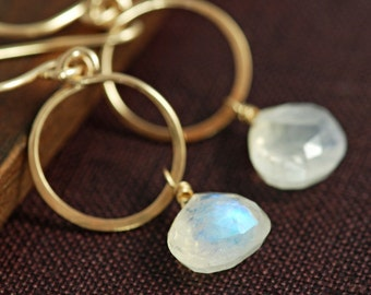 Moonstone Hoop Earrings 14k Gold Fill, Gemstone Dangle Earrings Handmade