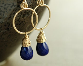 Lapis Lazuli Gold Hoop Earrings, September Birthstone Navy Blue Gemstone Dangle Earrings, Handmade Earrings, aubepine