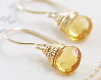 Black Friday Cyber Monday Sale- Citrine Earrings Wrapped in 14k Gold Fill, Yellow Gemstone Earrings, Handmade, aubepine