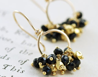 Black and Gold Earrings, 14k Gold Fill Hoop Earrings, Gemstone Clusters, Party Jewelry