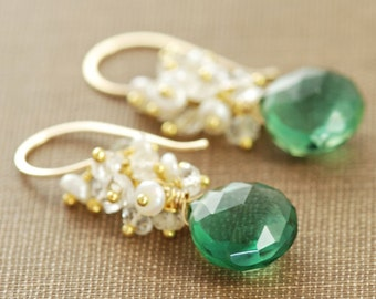 Forest Green Quartz Earrings in 14k Gold Fill, Gemstone Clusters White Topaz Pearl, aubepine