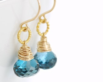 London Blue Topaz Gold Dangle Earrings, December Birthstone Jewelry, Wire Wrapped Gemstone Earrings