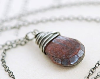 Tiger's Eye Gemstone Necklace Wrapped in Sterling Silver, Handmade Pendant