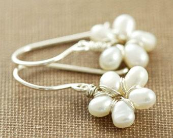 Pearl Flower Earrings Sterling Silver, Handmade Wire Wrap Earrings, aubepine