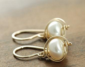 Pearl Gold Dangle Earrings, Bridal Jewelry, 14k Gold Fill Pearl Jewelry, Drop Earrings