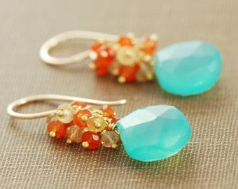 Beach Earrings, 14k Gold Gemstone Dangle Earrings, Aqua Orange Citrine Carnelian Earrings, aubepine
