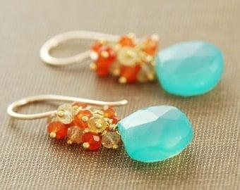 Beach Earrings, 14k Gold Gemstone Dangle Earrings, Aqua Orange Citrine Carnelian Earrings, aubepine