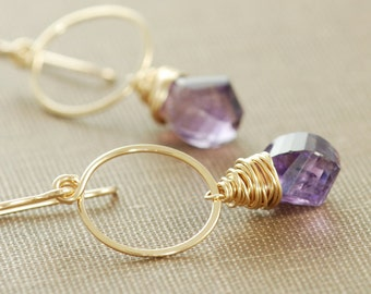 Amethyst Gold Hoop Earrings, February Birthstone Jewelry, Purple Gemstone Twists Handmade Earrings