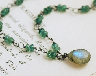Green Blue Gemstone Necklace Sterling Silver, Handmade Statement Necklace with Labradorite Apatite, Mermaid, aubepine