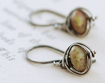 Autumn Gemstone Dangle Earrings, Sterling Silver Jasper Earrings, Wire Wrapped Handmade, aubepine