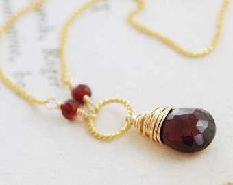 Marsala Red Garnet Necklace in 14k Gold Fill, January Birthstone Jewelry, Red Gemstone Pendant Necklace