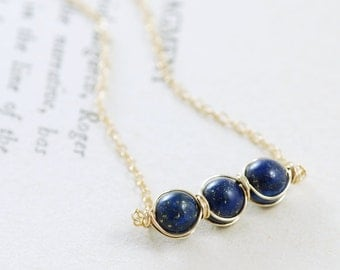 Blue Gemstone Necklace, Lapis Lazuli 14k Gold Fill Navy Stone Handmade, aubepine