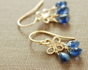 September Birthday Sapphire Blue Gemstone Chandelier Earrings, 14k Gold Fill Kyanite Dangle Clovers, aubepine